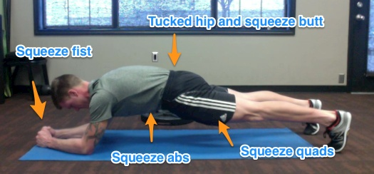 The RKC PLank. The goal is to create as much tension as muscle throughout your entire body.